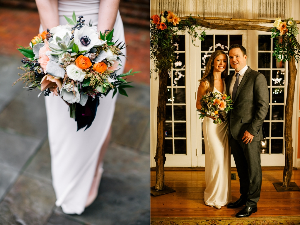 February Bridal Bouquet featuring anemones and ranunculus