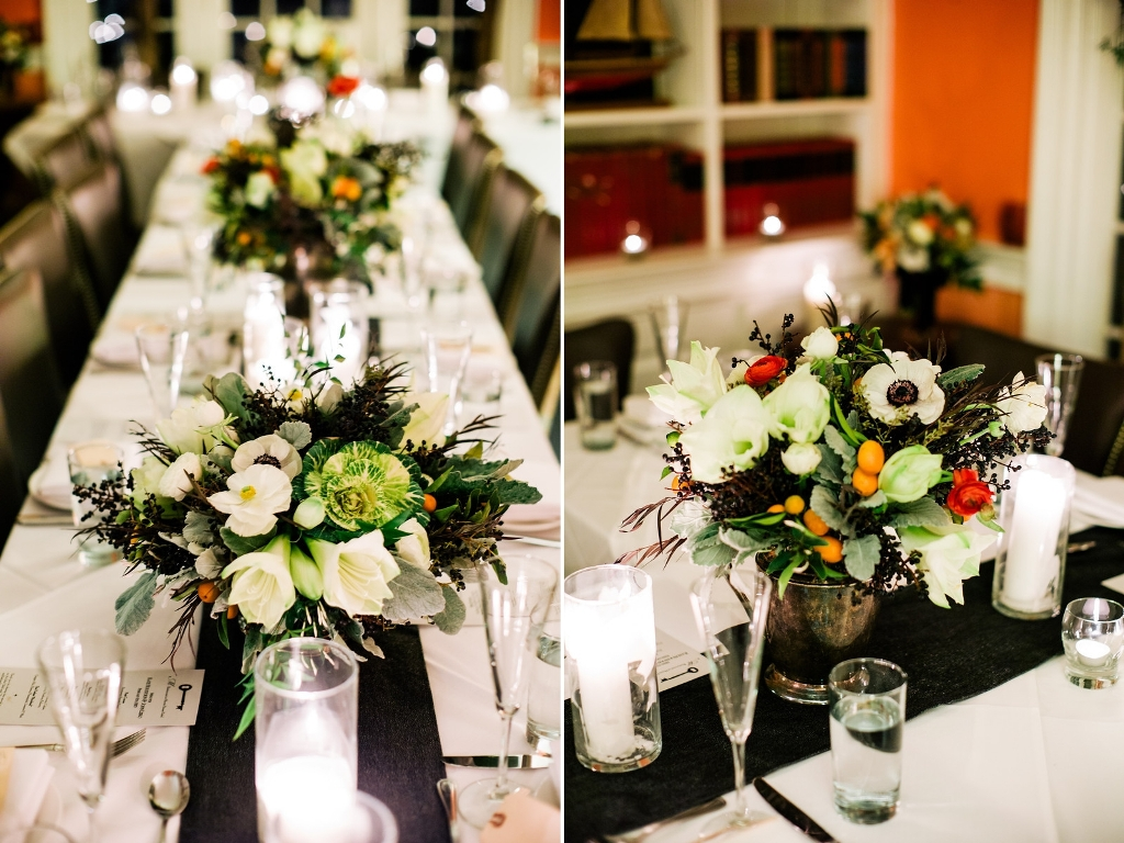 February Centerpieces featuring ornamental cabbage, anemones and kumquats