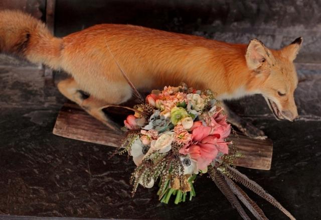 Bridal bouquet with taxidermy fox