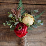 A spring boutonniere featuring a tiny tillandsia
